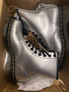 Dr Martens UK 3  Vegan Chrome Silver Ankle Boots Unisex Lace up BNIB