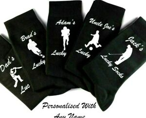 Personalised Lucky Football, Golf socks DAD UNCLE ANY NAME Novelty Gift  for him
