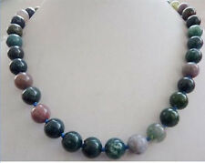 "Real 8mm multicolor India agate gemstones round Beads necklace 18 ""AAA"