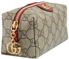 NEW GUCCI OPHIDIA GG LARGE CANVAS RED LEATHER DOUBLE G COSMETIC TOILETRY BAG