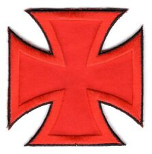 BRAND NEW RED IRON CROSS BIKER IRON ON PATCH