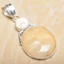 "Handmade Calcite Jasper Gemstone 925 Sterling Silver Pendant 2.25"" #P15736"