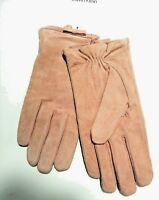 NWT Calvin Klein Women's Pink Suede Leather Gloves Size M/L CALKZ1967 MSRP $39