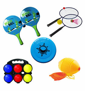Garten Strandspiele 6 Spiele Set Federball Boccia Beach-Ball Frisbee Boing-Ball