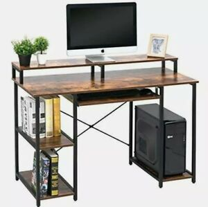 Computer Desk with Storage Shelves Keyboard Tray Monitor Stand Study Table