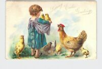 ANTIQUE POSTCARD EASTER GIRL WITH CHICKENS UNDIVIDED BACK EMBOSSED TUCK & SONS