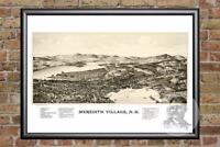 Vintage Meredith Village, NH Map 1889 - Historic New Hampshire Art - Industrial