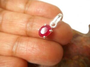 Small Pink Oval RUBY  Sterling  Silver  925  Gemstone  Pendant