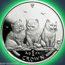 2006 Isle of Man - Exotic Shorthair Cat - 1 oz .999 Silver Proof Coin + Box/Coa