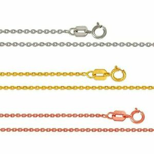 """Cable Link Chain 1-1.5mm Minimalist Dainty Necklace Women 14K Solid Gold 16""""-20"""""""