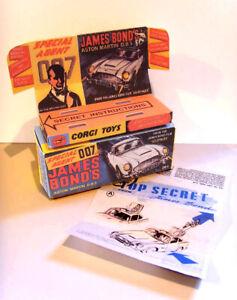 CORGI. 261. JAMES BOND - ASTON MARTIN.DB5. Superb repro box tray + instructions
