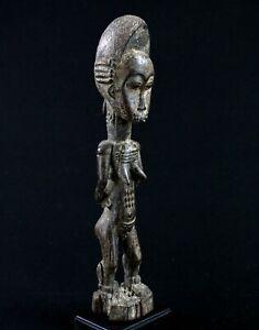 Art Africain Arts Premiers - Statue Maternité Baoulé Baule sur Socle - 40,5 Cms