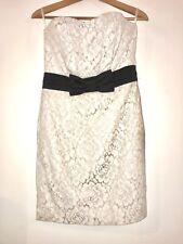 H&M Evening Dress, White Lace, Black Bow, Boned Corset, Euro 38, UK 12 WORN ONCE