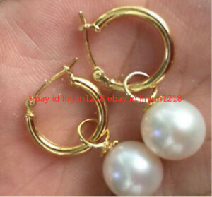 PERFECT Round AAA 7.8-8.2MM South Sea White Pearl Dangle Earrings 14K GOLD