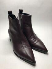 Everlane Maroon Pebbled Leather Zip Heel Bootie Ankle Boot Italy - Women's 7.5