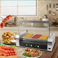 Commercial Electric 18 Hot Dog 7 Roller Grill Cooker Machine W/ Cover SUS