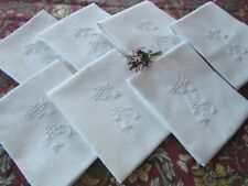 More details for seven antique french linen damask dinner table napkins with monogram f.g. 29x25