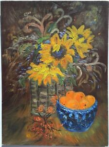 Vintage 70s Original Oil Painting Folk Art Floral Still Life Sunflowers Oranges