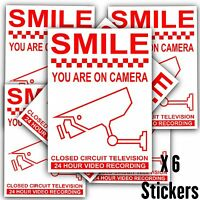 6 x CCTV Smile You Are On Camera-24hr Camera Stickers-Warning Security Signs