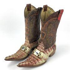 El Malcreado Botas 9 M Genuine Caiman Alligator Leather & Cowhide Boots