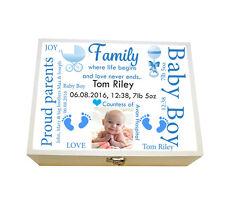 Large Personalised wooden Baby memory Keepsake box, Birthday, Christening gift