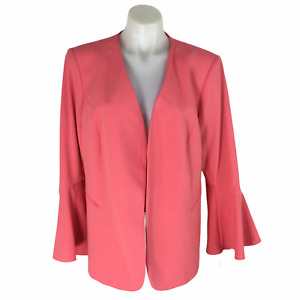 Calvin Klein Open Front Bell Sleeve Coral Blazer Suit Jacket Size 16W NWT