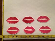 6 Pink Red Lips Kisses Fabric Applique Iron On Ons