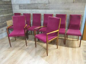 STUNNING SET OF 8 VINTAGE RETRO 60'S DANISH STYLE ROSEWOOD DINING CHAIRS