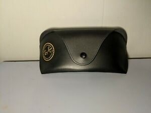 Ray Ban Black Sunglasses Large smooth authentic Leather Case Snap Belt Loop EUC