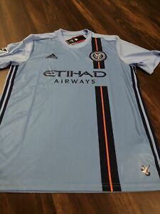 New Adidas Mens NYC New York City FC Soccer Jersey Size Large Blue Orange