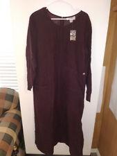FADS NEW Womens Modest Long Sleeve Zip Back Maxi Dress Corduroy Maroon Size  20W