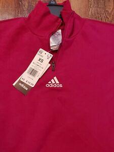 NEW adidas Women's Essentials Comfort Elongated 1/4 Zip Pink X-Small Sweatshirt