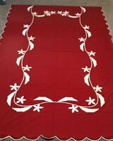 Set Pair 2 Vintage 1930's Eleanor Beard Twin Size Applique Red Bedspreads Covers