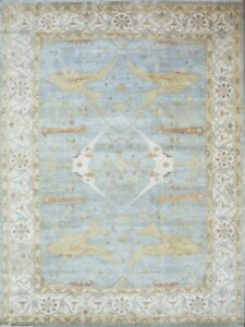 9'x12'8 Rug | Hand Knotted Lt Blue-Rust Wool Area Rug