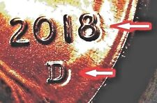 "2018 D""s - LINCOLN SHIELD CENTS - DBL LIKE 8/D  ERROR & A NORMAL COIN  (2-COINS)"