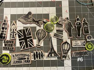 (#6) Tim Holtz Stampers Anonymous and ?, 23 pc Travel Stamps Mix Lot