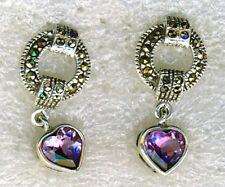 Heart Drop/Dangle Amethyst Sterling Silver Fine Earrings