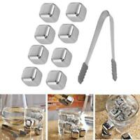8Pcs Whiskey Wine Beer Stones Stainless Steel Cooler Stone Ice Cube w/ Clip Q