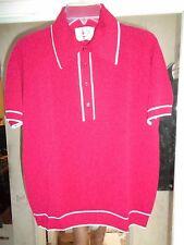 NOS MEDICI 50's-60's Red + White Trim 4 Button Textured Pullover! ROCKABILLY L