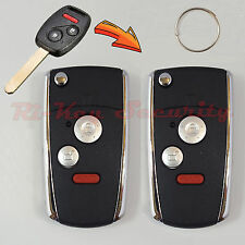 2 Flip Key Modified Case Shell For Honda Remote Key 3 Buttons With Chip Holder