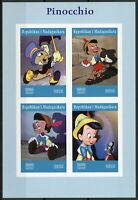 Madagascar 2019 MNH Pinocchio Jiminy Cricket 4v IMPF M/S Disney Cartoons Stamps