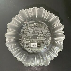 """Mikasa Holiday Classics Crystal Bowl 10.5"""" Clear Glass Frosted Christmas"""