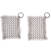 Stainless Steel Cast Iron Cleaner Chainmail Scrubber Home Cookware Kitchen Tool`