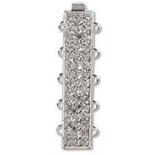 Elegant Elements 3,4 or 5 Strand Rectangle Box Clasp 23k Rhodium German Made