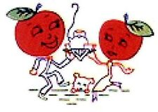 Vintage Embroidery Applique Transfer repo 593 Animated Big Apple for Tea Towels