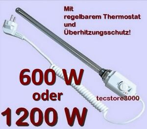 Heizstab, Heizpatrone f. Badheizkörper NEU, 600W 1200W mit Temperaturregelung
