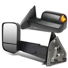Fit 02-09 Dodge RAM Pair Powered Towing/Camper Side Mirror W/Heated+Puddle Light