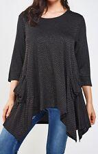 Marina Kaneva Black & Silver Dip Hem Top Size 30/32