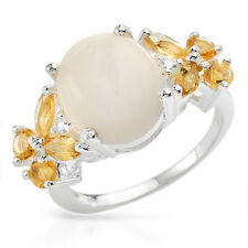 Genuine Citrines, Opal & Topazes 925 Stirling Silver -$265 RRP -Size 6