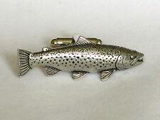 Brown trout fly fishing angling fine étain boutons de manchette cadeau homme bijoux coffret